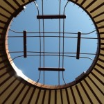 A iew of the new roof ring looking up from within the space.  I never tire of the view.