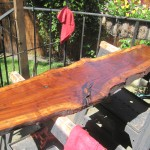 This is a milled piece of walnut we picked up to use as a table top such as the European reenactors use.  It has been treated with linseed only.  Need to get some wood for the legs and it will e usable this summer.