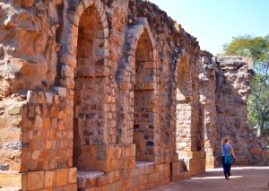 Ancient arches on the far side of the Qutb complex.