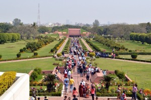 Looking from the steps of the Lotus Temple toward the entrance.