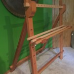 Picture of a free standing warp weighted loom.